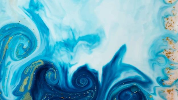 Abstraktes blaues aquarell mit goldglitterhintergrund