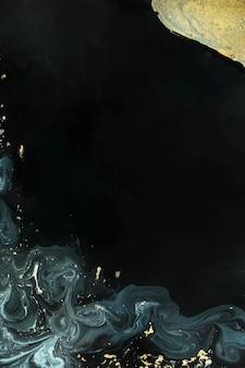 Abstraktes blaues aquarell und goldfarbe