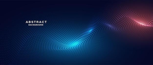 Abstraktes blaues banner mit leuchtenden partikeln