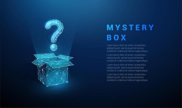 Abstraktes blaues fragezeichen, das von der offenen box fliegt. low poly style design.