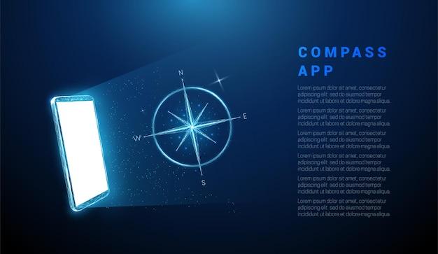 Abstraktes blaues handy mit weißem bildschirm und kompass.