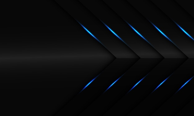 Abstraktes blaues licht auf dunkelgrauem metallpfeil mit modernem futuristischem hintergrund des leerraumdesigns