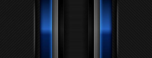 Abstraktes blaues licht auf kontrastierendem dunkelgrauen geometrischen streifen modernes futuristisches tech-banner