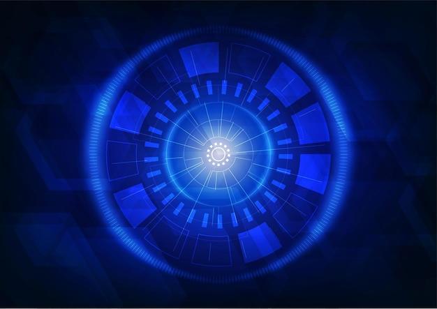 Abstraktes blaues schnittstellendesign des digitalen netzwerkhintergrunds des netzwerks.