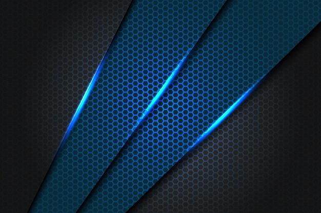 Abstraktes blaues schrägstrichdreieck metallisch auf dunkelgrau mit der modernen futuristischen hintergrundbeschaffenheitsillustration des sechsecknetzmusters.