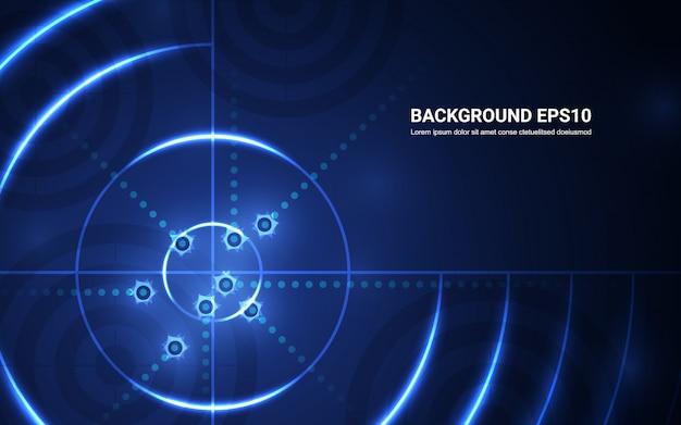 Abstraktes blaues ziel, schießstand auf schwarzem hintergrund. shooting target erfolg lösung