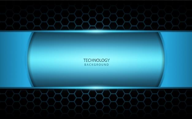 Abstraktes blaulicht auf hexagonhintergrund