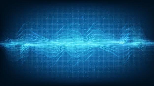 Abstraktes blaulicht-digital-linien-, schallwellen- und erdbebenwellenkonzept, design für musikstudio und wissenschaft