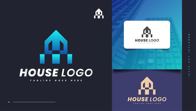 Abstraktes blue house logo design für die identität der immobilienbranche. bau-, architektur- oder gebäudelogo-design