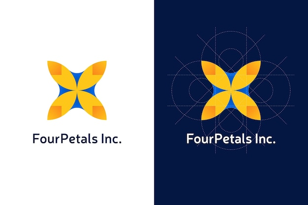 Abstraktes blütenblatt-logo mit farbverlauf