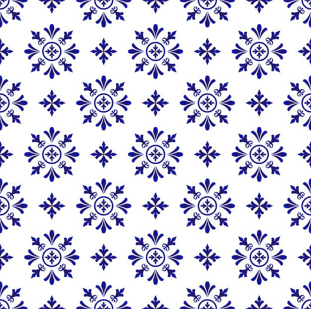 Abstraktes blumenfliesenmuster blau und weiß, porzellanhintergrund