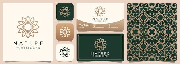Abstraktes blumenlogo mit satz muster und visitenkartenentwurf. logo für die verwendung von natürlichen