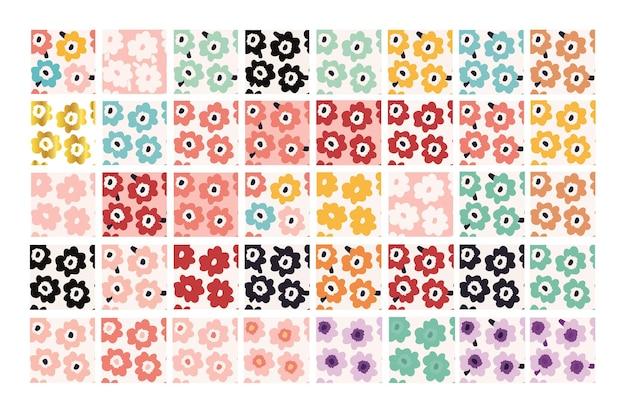 Abstraktes blumenmuster ein großes set von 40 handgemalten blumenmustern im skandinavischen stil