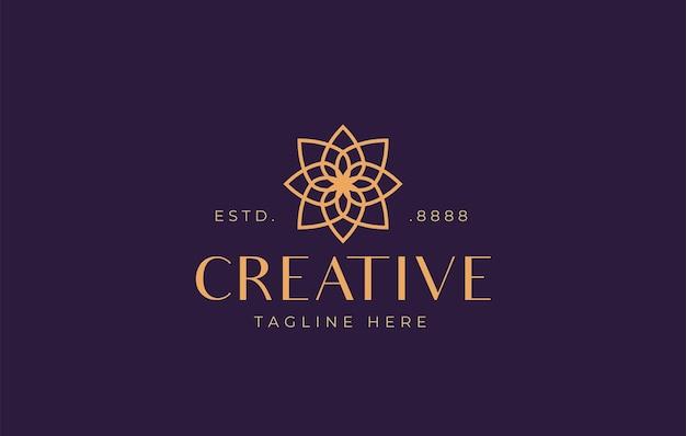 Abstraktes blumensymmetrie-logodesign vektorillustration des naturblumen-monoline-designs