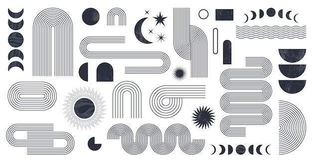 Abstraktes boho-ästhetisches geometrisches formset zeitgenössisches liniendesign aus der mitte des jahrhunderts mit sonnen- und mondphasen erdton trendiger böhmischer stil moderne illustration