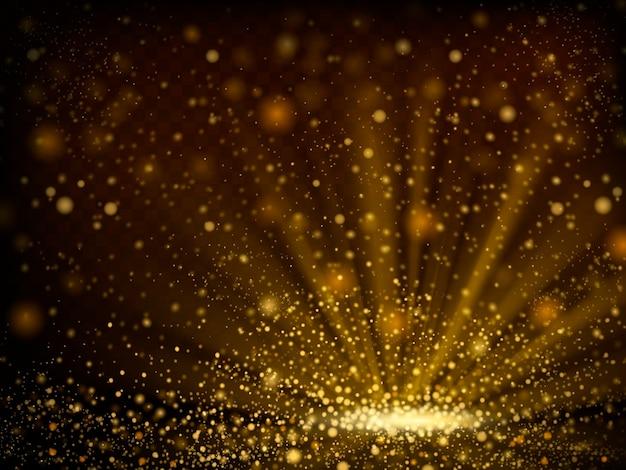 Abstraktes bokeh glitzerndes goldenes pulverhintergrund in der 3d illustration