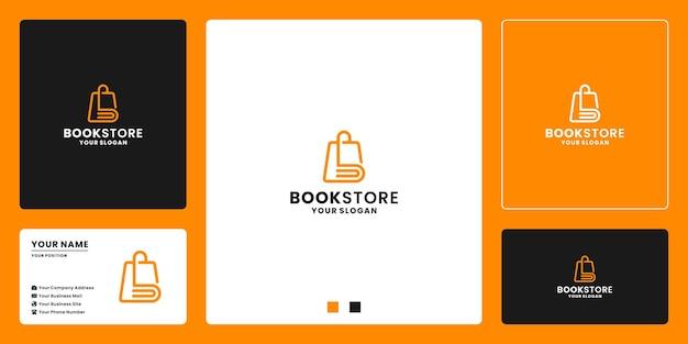 Abstraktes buch kombinieren mit taschenladen-logo-design für buchhandlung