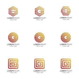 Abstraktes buchstabe g-logo mit schattierter farbe