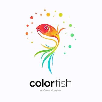 Abstraktes buntes fisch-logo-design