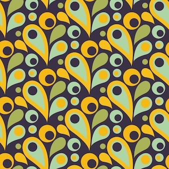 Abstraktes buntes nahtloses muster mit tropfen, runden formen. flaches design. dekorative illustration für druck, web. vektorillustration.