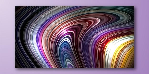Abstraktes buntes plakat mit 3d effekt und fließender flüssiger form.