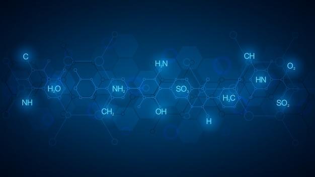 Abstraktes chemiemuster auf dunkelblauem hintergrund