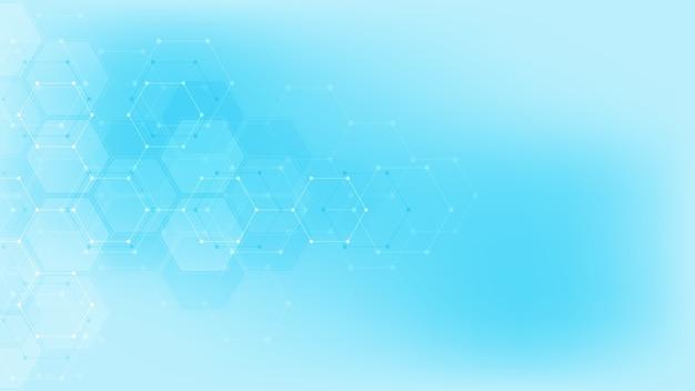 Abstraktes chemiesymbol auf weichem blauem hintergrund mit chemischen formeln und molekularen strukturen, konzept und idee für wissenschaft und innovationstechnologie.