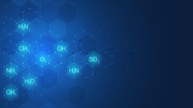 Abstraktes chemisches muster auf dunkelblauem hintergrund mit chemischen formeln und molekularen strukturen. vorlage mit konzept und idee für wissenschaft und innovationstechnologie.