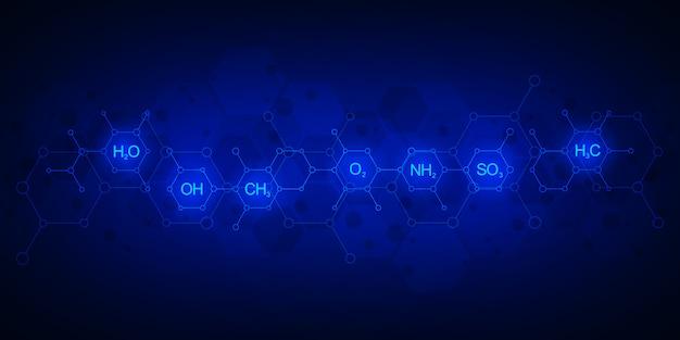 Abstraktes chemisches muster auf dunkelblauem hintergrund mit chemischen formeln und molekularen strukturen. wissenschafts- und innovationstechnologiekonzept.