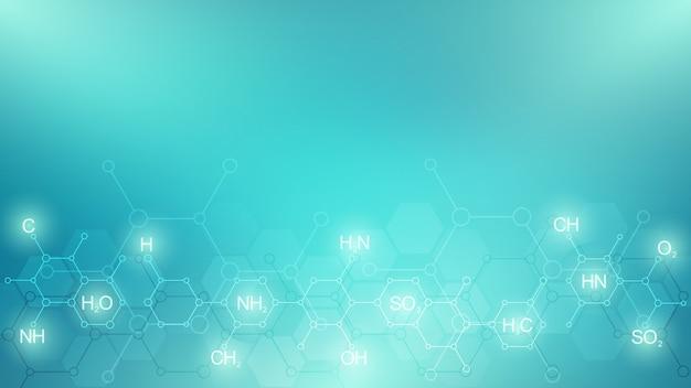 Abstraktes chemisches muster auf grünem hintergrund mit chemischen formeln und molekularen strukturen. vorlage mit konzept und idee für wissenschaft und innovationstechnologie.