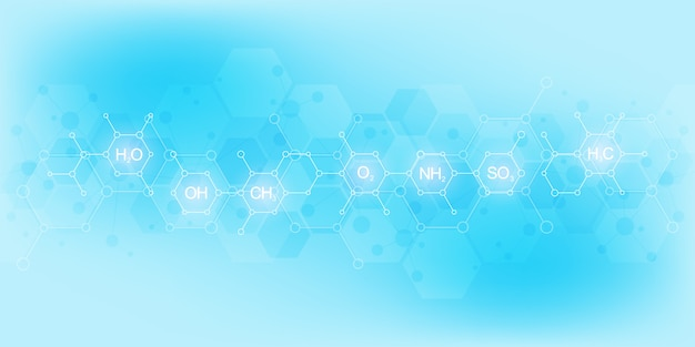 Abstraktes chemisches muster auf hellblauem hintergrund mit chemischen formeln und molekularen strukturen. wissenschafts- und innovationstechnologiekonzept.