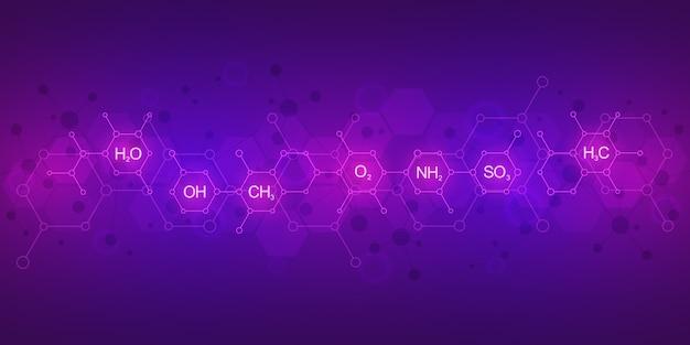 Abstraktes chemisches muster auf lila hintergrund mit chemischen formeln und molekularen strukturen. wissenschafts- und innovationstechnologiekonzept.