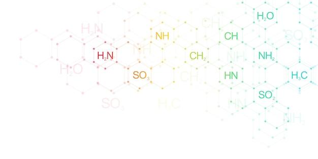 Abstraktes chemisches muster auf sauberem weißem hintergrund mit chemischen formeln und molekularen strukturen. wissenschafts- und innovationstechnologiekonzept.