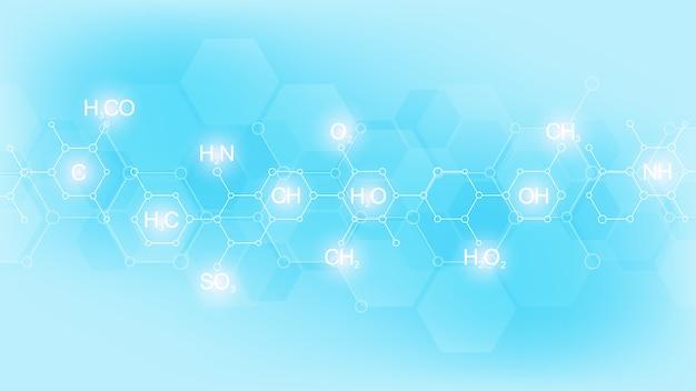 Abstraktes chemisches muster auf weichem blauem hintergrund mit chemischen formeln und molekularen strukturen. vorlage mit konzept und idee für wissenschaft und innovationstechnologie.
