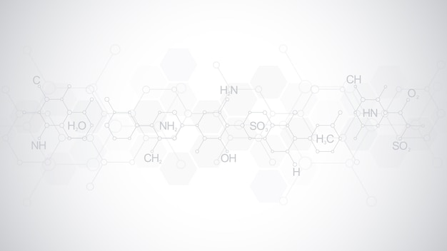 Abstraktes chemisches muster auf weichem grauem hintergrund mit chemischen formeln und molekularen strukturen. vorlage mit konzept und idee für wissenschaft und innovationstechnologie.