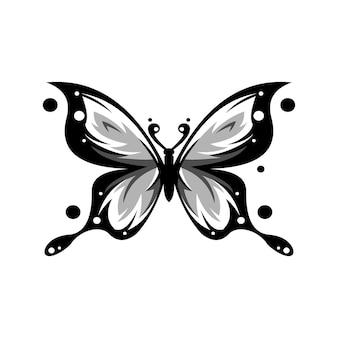 Abstraktes design des schwarzen und weißen schmetterlingslogos