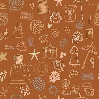 Abstraktes design-doodle-sommer-muster. nahtloser hintergrund mit kleidung und zubehör.