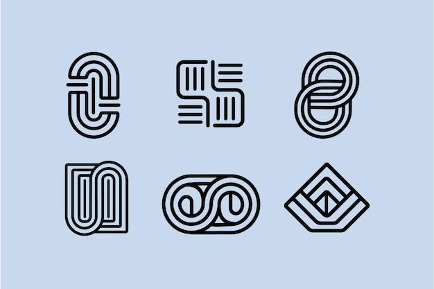 Abstraktes design lineares logo-paket