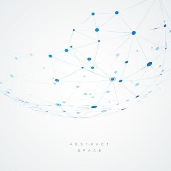 Abstraktes design mit blauen zusammengesetzten linien und punkten