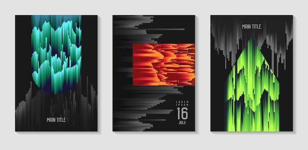 Abstraktes design-set im glitch-stil. trendige hintergrundvorlagen mit geometrischen formen für poster, cover, banner, flyer, plakate. vektor-illustration