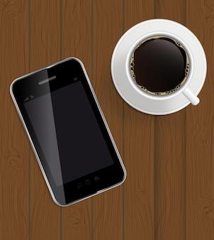 Abstraktes designtelefon, kaffee auf brettern hintergrundvektor illus