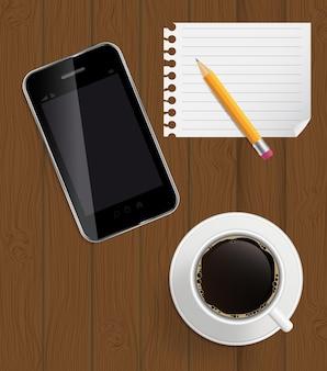 Abstraktes designtelefon, kaffee, bleistift, leere seite auf brettern zurück