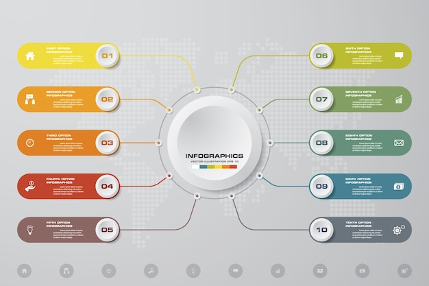 Abstraktes diagramm mit 10 schritten infographics elementen