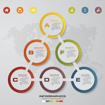 Abstraktes diagramm mit 6 schritten infographics elementen