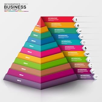Abstraktes digitales geschäft 3d infographic. kann für workflow-prozess, business-pyram verwendet werden
