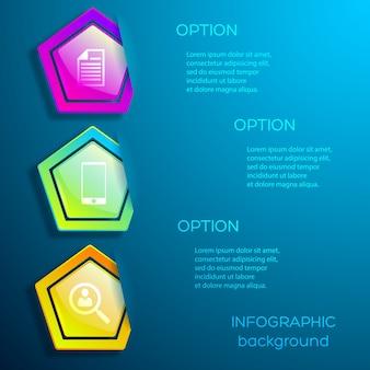 Abstraktes digitales geschäftsinfografik-entwurfskonzept mit symbolen drei optionen und glänzenden bunten sechsecken isoliert