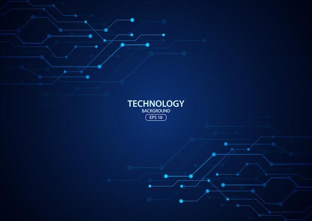 Abstraktes digitales technologie-hintergrundkonzept mit technologie-linie lichteffekten. illustration