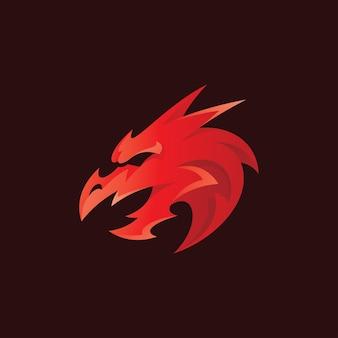 Abstraktes drachenkopf-maskottchen-logo mit farbverlauf