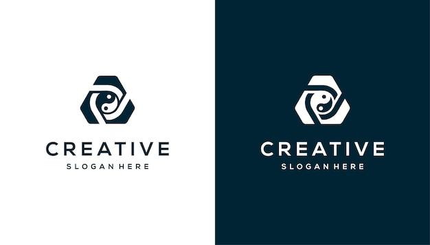 Abstraktes dreieck-yin-yang-logo-design