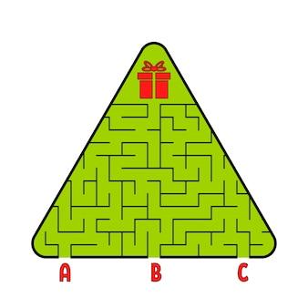 Abstraktes dreieckiges labyrinth. weihnachtsbaum mit einem geschenk. finde den richtigen weg.